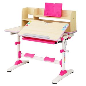Natsen Kinderschreibtisch Schülerschreibtisch mit Bücherregal und Schublade, höhenverstellbar neigbar, Schreibtisch für Kinder Mädchen Junge (Rosa)