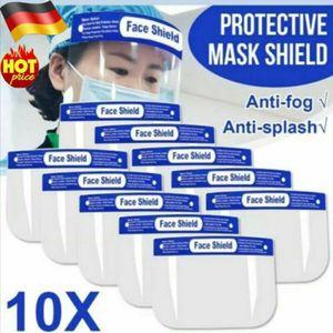 10x Stück Gesicht Schutzmaske Augenschutz Gesichtsschutzschirm Schutzbrille Gesichtschutz Schutzvisier Qualitäts Face Shield