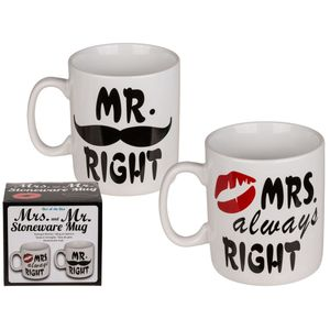 XXL Kaffeetassen Set Mr. Right & Mrs. Always Right Tasse 750ml Kaffee Geschenk