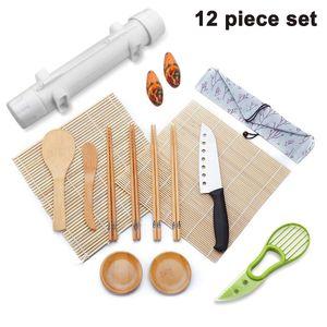12 Stück Set Sushi Maker Set , Sushi Selbst Machen Set Sushi-Vorhang, Sushi-Form, Sushi-Messer, Buttermesser, Essstäbchen, Essstäbchenauflage, Löffel, Bambusmesser