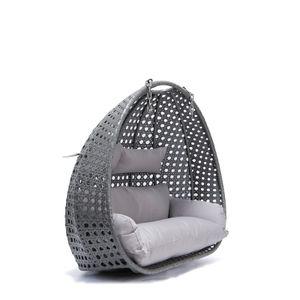 Polyrattan Hängesessel TWIN - Grau nur Korb und Kissen