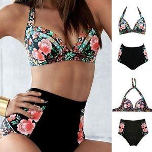 Sommer Damen Blumendruck Buegel-BH + High Waist Briefs Bikini Set Badeanzug XXL