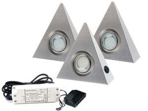 3er Set LED Dreieckleuchte Edelstahl 2,5W Warmweiß mit Zentralschalter
