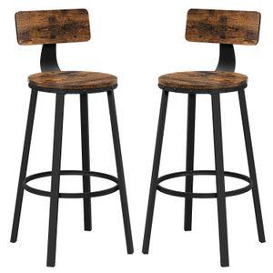 VASAGLE Barhocker, 2er Set Barstühle, Küchenstühle mit stabilem Metallgestell, Sitzhöhe 73,2 cm, einfache Montage, Industrie-Design, vintagebraun-schwarz LBC026B01V1