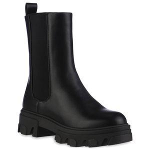 VAN HILL Damen Leicht Gefütterte Plateau Boots Stiefel Profil-Sohle Schuhe 837824, Farbe: Schwarz, Größe: 39