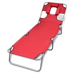 dereoir Klappliege mit Kopfkissen Pulverbeschichteter Stahl Rot