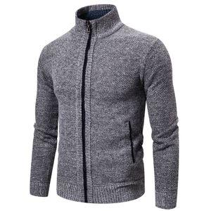 Einfarbiger Langarm-Strick-Cardigan-Mantel mit Stehkragen für Herren Größe:XXXL,Farbe:Grau