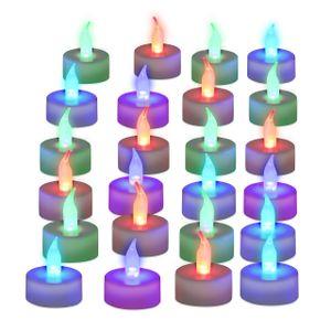 relaxdays 24x LED Teelicht Farbwechsel Dekokerzen flammenlos Partylichter Stimmungslicht