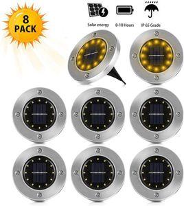 Solar Bodenleuchte Solarleuchten Garten 12 LED Solarleuchte Wasserdicht Bodenstrahler Edelstahl Außenleuchte Garten Landschaft Beleuchtung für Rasen Weg Hof Auffahrt Gehweg, WarmWeiß (8 PCs)