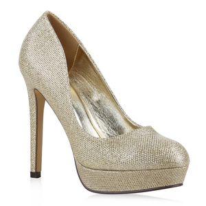 Mytrendshoe Damen Plateau Pumps Glitzer High Heels Metallic Party Schuhe 814500, Farbe: Gold, Größe: 40