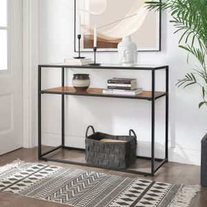 VASAGLE Konsolentisch mit Ablage | 100 x 40 x 80 cm mit Glasoberfläche Flurtisch stabiles Stahlgestell Hartglas Industrie-Design vintagebraun-schwarz LNT10BX