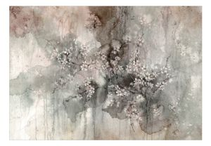 Vlies Tapete  Top  Fototapete  Wandbilder XXL  400x280 cm – BLUMEN BETON OPTIK AQUARELL b-C-0812-a-a