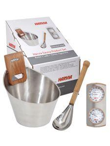 Harvia Sauna Zubehörset Edelstahl Aufgusskübel Klimamesser Thermometer Hygrometer