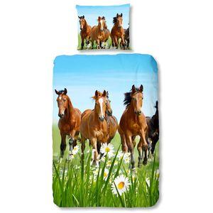 Good Morning Bettwäsche-Set 5316-P HORSES 135 × 200 cm Mehrfarbig