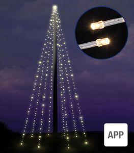 Fahnenmast-Lichterkette - mit Appfunktion mit 400 warm-weissen LEDs 76308