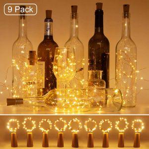 Flaschenlicht, 9 Stück Flaschenlichterkette Korken 2M 20LED Batterie Lichterkette für außen/innen Deko,Warmweiß