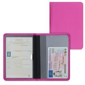 kwmobile Fahrzeugschein Hülle mit Kartenfächern - Kunstleder Etui Tasche für Auto Zulassungsbescheinigung Führerschein Pink