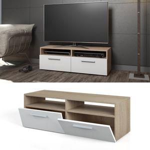 TV Lowboard Board Schrank Fernsehtisch Sideboard Regal Rack Sonoma Weiß