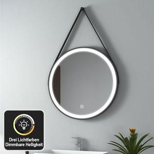 EMKE LED Badspiegel Rund 60 cm Durchmesser LED Spiegel Badezimmerspiegel mit Beleuchtung 3 Lichtfarbe 3000-6400K Kaltweiß Neutral Warmweiß Dimmbar Lichtspiegel mit Touchschalter IP44 Energiesparend (Schwarz Design)