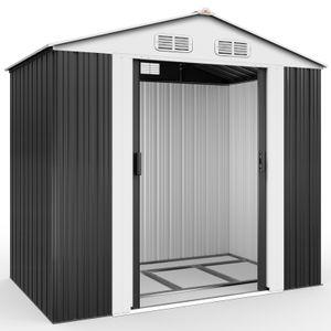 Gardebruk XL Metall Gerätehaus 2,4m² mit Fundament 210x132x186cm Schiebetür Anthrazit Geräteschuppen Gartenhaus Schrank 4,2m³