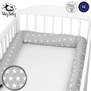 Bettschlange 150 cm Nestchenschlange für baby Bettrolle 1,5m bettumrandung Babybettschlange Grau mit Weiß Sternen