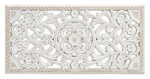Wandornament Holz weiß 60x30 cm shabby Landhaus Ornament Holzornament Holzbild