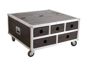 SIT Möbel Couchtischtruhe auf Rollen   5 Schubladen, 1 Klappe   Mango-Holz   Beschläge Alu   B 90 x T 90 x H 47 cm   06594-30   Serie DARK ROADIES