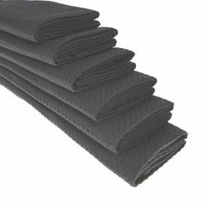 GKA 6 Stück Geschirrtücher 100% Baumwolle Waffel-Piqué Küchentuch Tuch Putztuch Trockentücher Geschirrtuch Gastroqualität anthrazit 70 x 50 cm