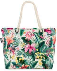 VOID Tropen Dschungel Blumen Strandtasche Shopper 58x38x16cm 23L XXL Einkaufstasche Tasche Reisetasche Beach Bag
