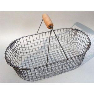Drahtkorb -  Kartoffelkorb - Gartenkorb aus Draht, klein, oval, altverzinkt