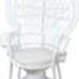 Sessel Rattan Pfauenthron, weiß lackiert, mit Kissen, Höhe ca. 130 cm