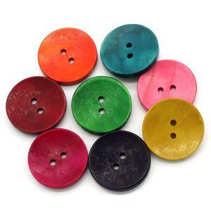 50 kunterbunte Holz-Knöpfe 30mm Farbmix, Knopf 2-Loch-Knopf Holzknopf