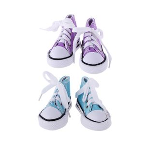 2 Paar Mini Schnürschuhe Segeltuchschuhe Für 1/4 BJD Puppe ( Blau + Lila )