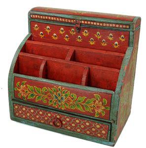 Vintage Schreibtisch Ordner, Schreibtisch Ablage - rot Modell 1, Holz, 30*30*20 cm, Schreibtische & Schreibpulte