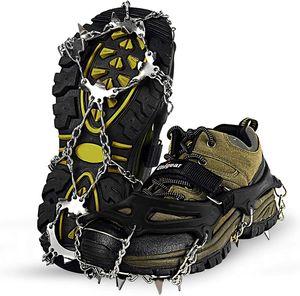 Spikes für Schuhe GRÖßE L (41-44), Schuhspikes, Schuhkrallen Steigeisen für Schuhe im Winter Steigeisen Grödel Eisspikes, Schuhkrallen mit Edelstahl Zähne Spikes Grödeln Klettern Bergsteigen Trekking