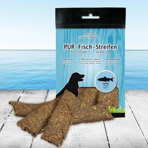 PUR Kaustreifen Lachs 100 g Hundesnack 100% gluten- und getreidefrei ideal für empfindliche Hunde(-rassen) und Allergiker