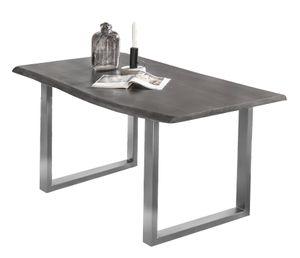 SIT Möbel Esstisch aus Akazie, Gestell in antiksilber | B 160 x T 85 x H 77 cm | antikgrau | 07107-12  | Serie TISCHE & BÄNKE