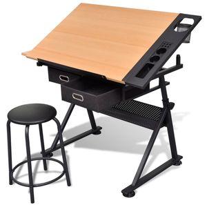 vidaXL Zeichentisch mit neigbarer Tischplatte 2 Schubladen und Hocker