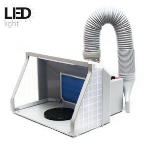Absauganlage 9m³/min LED-Beleuchtung Drehregler Doppellüfter Airbrush