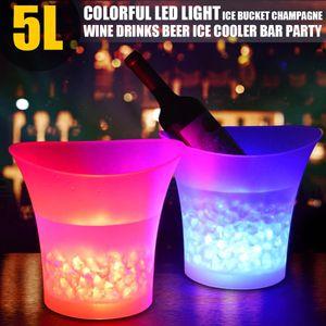 2x LED Eiswürfelbehälter Flaschenkühler Eiskübel Eisbox Weinkühler Farbwechsel