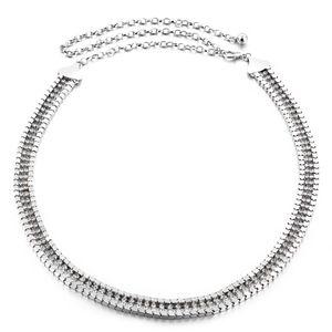 Elegante Kristall Strass Gürtel Metall Perle Kette Gürtel für Frauen 10 Gold Einheitsgröße