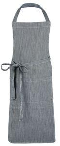 Kochschürze, Baumwolle, 75x100 cm, schwarz-weiß gestreift mit verstellbaren Nackenband
