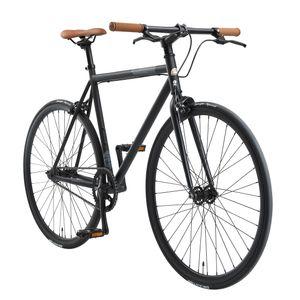 BIKESTAR Singlespeed 700C 28 Zoll City Stadt Fahrrad | 53 cm Rahmen Rennrad Retro Vintage Herren Damen Rad | Schwarz & Grau