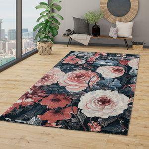 Wohnzimmer Teppich Kurzflor Modernes Blumen Design Boho Optik,In Grau Rosa Rot, Größe:140x200 cm