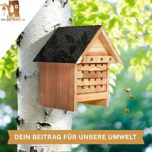 deintierhaus.de©   Bienenhotel aus Naturholz - Insektenhotel für Bienen - Nisthilfe & Unterschlupf für Wildbienen - wetterbeständiges, unbehandeltes Massiv-Holz - Bienenhaus für Garten oder Balkon