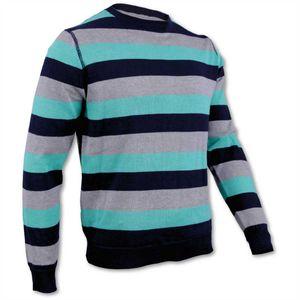 Pullover Herren Strickpullover Streetwear Menswear Rundhals Pulli, Farbe: Grau-Mitgrün-Dunkelblau, Größe: XL