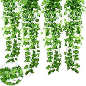 12 Stück Kunstpflanze Efeugirlande Efeu Efeuranke Künstlich Hängende Rebe Hochzeit Party Garten Nachbildung Kunstpflanze Künstliche Blattrebe Deko