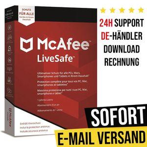 McAfee LiveSafe | Unlimited | 1 Jahr | Vollversion | Versand per E-Mail