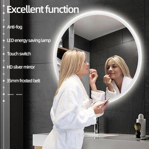 Rund LED Badspiegel Beleuchtung Badezimmerspiegel Spiegel Anti-Fog Wandspiegel 80*80*4.5cm