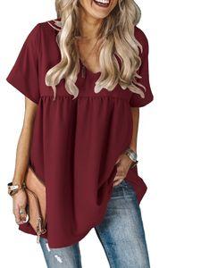 Damen V-Ausschnitt Hemd Kurzarm Faltenrock y Kurzrock,Farbe: Rotwein,Größe:S